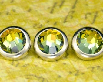 10 Tabac Crystal Hair Snaps - Round Silver Rim Edition -- Made with Swarovski Crystal Element Rhinestones