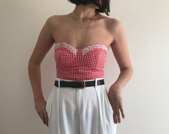 Red Gingham Strapless Bustier Top with Lace Details on Breasts