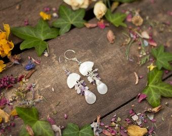 Nacre bears amethyst moonstone Earrings