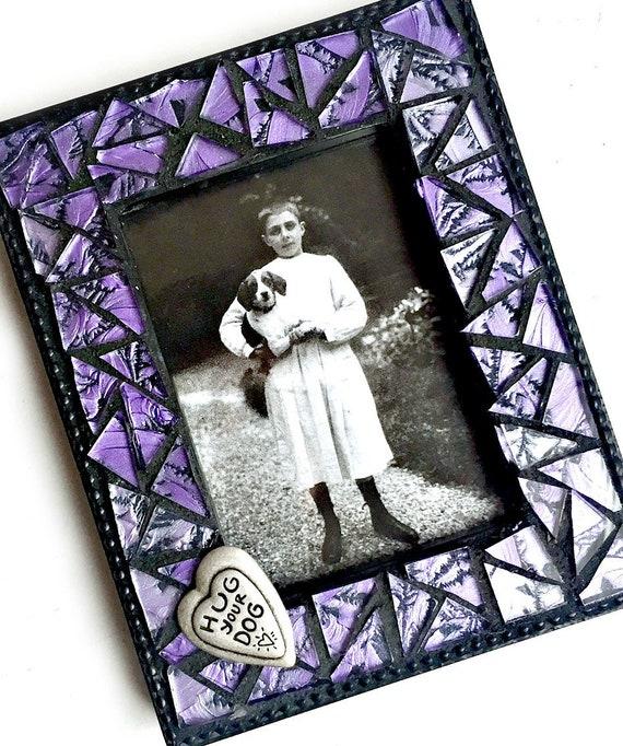 Purple Mosaic Picture Frame, Hug Your Dog Frame, Purple Glass Mosaic Frame, Purple Black Picture Frame, Small Photo Frame, Purple Frame