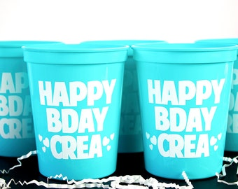 Happy Birthday Cups, Personalized Cups, Kids Party Cups, Plastic Stadium Cups, Birthday Favor, Kids Favor, Kids Birthday Cups