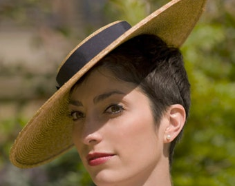 The Summer Frou Frou - Wedding Hat - Straw Boater Hat w/ Navy Ribbon - Womens Races Hat