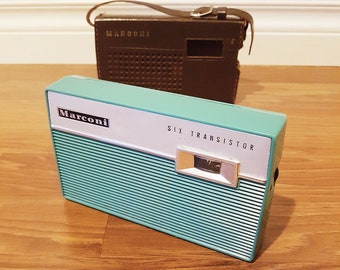 Rare 1960 Marconi 2000 Six Transistor Radio, Made in Japan, With Leather Case, In Working Condition
