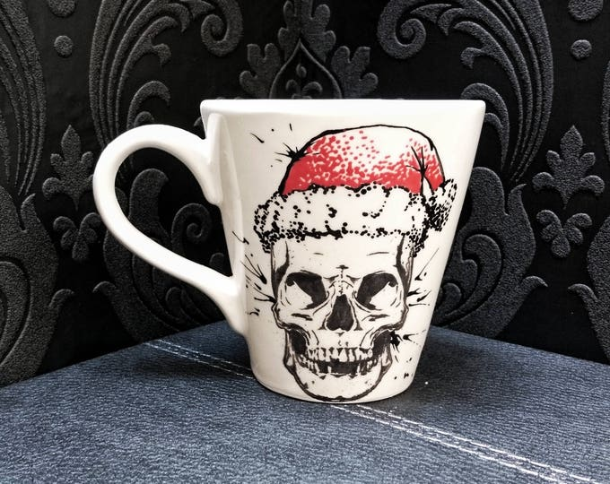 Christmas Skull Mug, Xmas Skull Cup, Santa Present, Gothic Gift, Bah Humbug, Creepy Alternative Item, Father Christmas, Weird and Wonderful