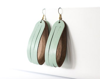 Leather Earrings / Sliced Leather / Minted