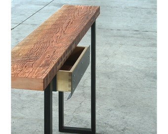 desk from reclaimed wood and steel - industrial modern - console - high table - hall table - desk with drawer