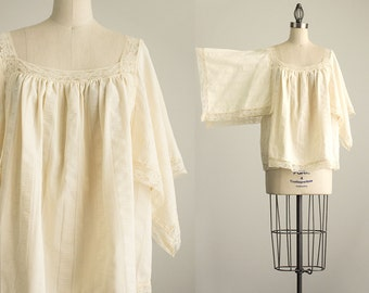 80s Vintage Boho Cream Lace Kimono Tunic Top / Size Large