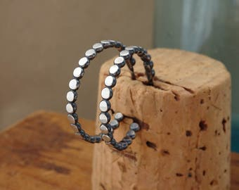 Oxidized Sterling Silver Hoop Earrings--Hammered Bead--Dotted--Handcrafted--Dark Finish--Rustic Sparkle