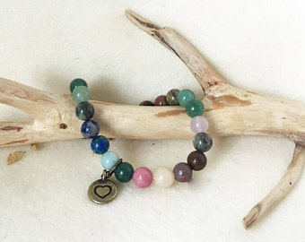 Heart Chakra Multi Colored Gemstone Bracelet, Crystal Beaded Stretch Bracelet with Charm, Chakra Balancing Jewelry