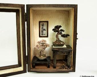 Bonsai Trees set, Vintage miniature Dollhouse 1/12 (BMS01)
