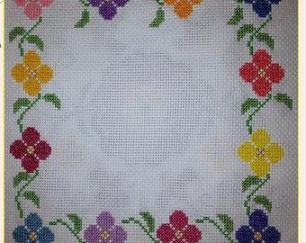 Hand-sewn Cross Stitch Art: Floral Bloom Border