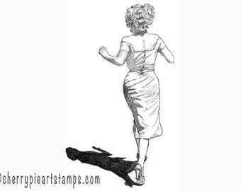 Walking away woman - Marilyn - CLiNG RuBBer STAMP Q451