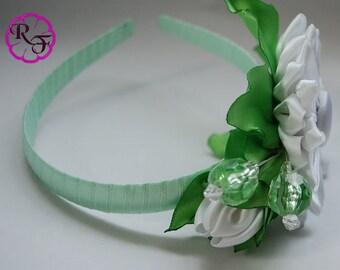 Kanzashi Flowers  , white Flowers Headband