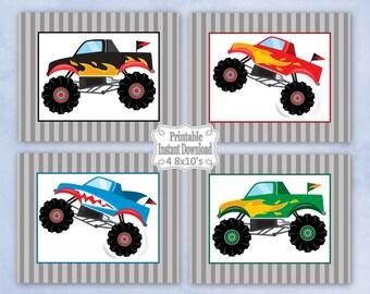 Printable Monster Trucks Nursery Wall Art Decor Black Red Green Blue Baby Child Kids Little Boy ~ DIY Instant Download ~ 4 8x10 Prints
