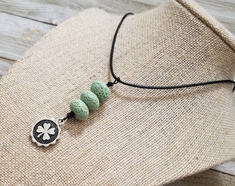 Lava Stones, Essential oil diffuser jewelry, Personal oil diffuser, Shamrock, St Patrick's Charm, Adjustable Necklace, Essential oils.