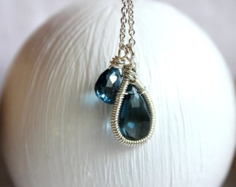 Blue Topaz Thin Silver Chain- Small Charm Necklace  - Gift for her-Boho Necklace- Boho Jewelry-Birthstone Jewelry