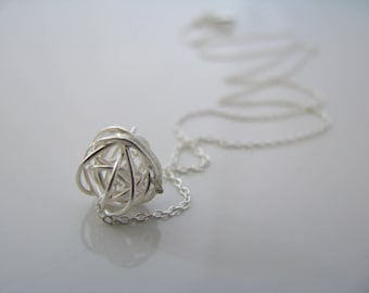 Wire Ball Necklace Yarn Ball Necklace Love Knot Necklace Sterling Silver