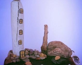 Phare, paysages marins, maison de l'art, bois flotté, art du recyclage, miniature phare, bois.