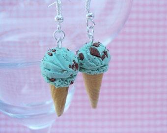 Mint Chocolate Chip Ice Cream Polymer Clay Earrings, Miniature Clay Dessert Food Jewelry, Hook Earrings