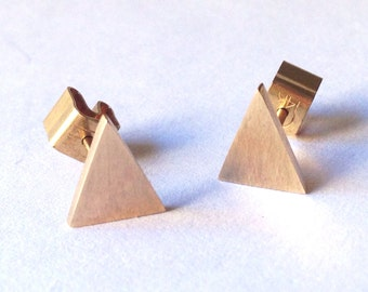Dainty Rose Gold Triangle Stud Earrings Rose Gold Earrings Triangle Posts Geometric Earrings 14 Karat Gold