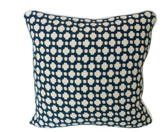 Celerie Kemble Betwixt Charcoal Grey Pillow Cover with Piping
