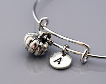 Pumpkin charm bangle, Pumpkin bracelet, Pumpkin charm jewelry, Vegetable charm, Expandable bangle, Charm bangle, Monogram, Initial bracelet