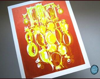 KAMEEN #016 | Cartoon-Stil Silhouetten in metallischem Kupfer und Neongelb, ein von einer Art Kunst-Siebdruck (8 x 10)