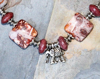 Elephant Necklace, Rust Brown Necklace, Pink Necklace, Natural Stone Necklace, Agate Necklace, Rhodonite Necklace, Beaded Bohemian Necklace