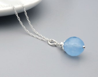 Aqua Blue Jade Necklace, Gemstone Faceted Jade and Sterling Silver Necklace, Semi precious stone