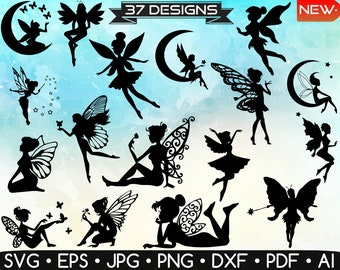 Fairy Silhouette • Fairy Svg • Fairy Vector • Fairy Clipart • Tinker Bell Svg • Fairy Silhouette Svg • Fairy Printable • Instant Download