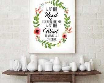 Irish Blessing Printable decor - May The Road Rise Up to meet you - Wall art print - Printable Wall Art - Wall Art Nursery Decor
