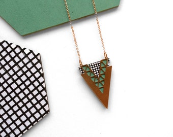 Rose Gold Triangle Necklace - Modern Necklace - Contemporary Jewellery - Geometric Rose Gold Necklace - Geometric Jewellery - Handmade