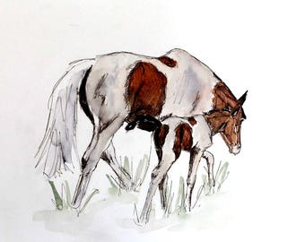 Coloured mare and foal watercolour print