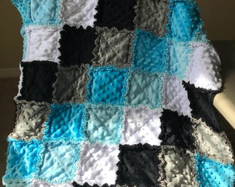 So Soft white/blue/gray and black minky baby boy rag quilt