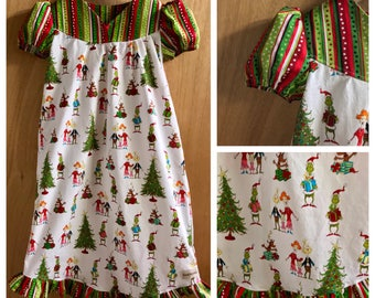 Grinch Christmas Cotton Lounge Wear Gown, size 5t
