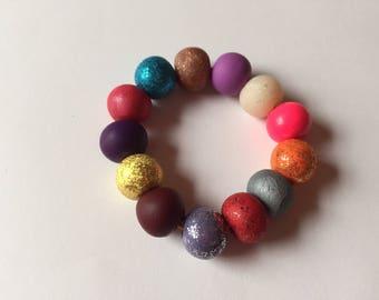 Kids polymer clay bead bracelet, multicolor, birthday present