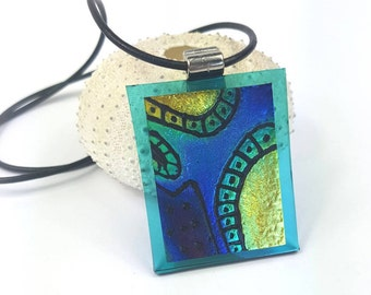 Blue and Gold Dichroic Glass Pendant. Hand etched fused glass dichroic pendant necklace with leather necklace by AMEArtistry2017