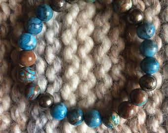 Blue Lace Agate, Blue Rainbow Jasper and Iron Pyrite Beaded Stretch Bracelet
