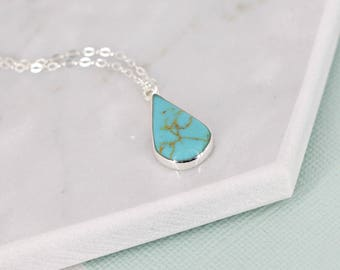 Turquoise necklace • Silver turquoise pear drop necklace • Simple necklace • Turquoise necklace • Stunning sterling silver necklace