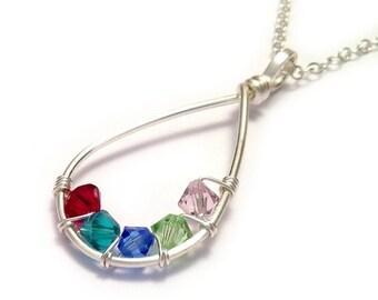 Teardrop Family Birthstone Necklace | Grandmother Necklace | Mother Necklace | Family Tree Necklace | Mothers Day Gift | Birthstone Jewelry