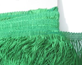 "Bright Green Chainette Fringe 15"" Trim, Dance Costumes, Flapper Trim, Tassel Trim, Interior Decorating, Sewing Trim Supplies, By the Yard"