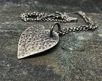 Hammered Heart Charm on Sterling Silver Chain, Handcrafted Heart Necklace, Love Charm, Sweetheart Gift, Lovers Gift, Valentines Day Gift