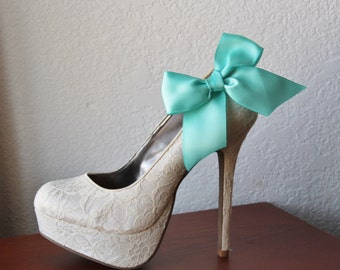 Robins Egg Blue Ribbon Bow Shoe Clips - 1 Pair