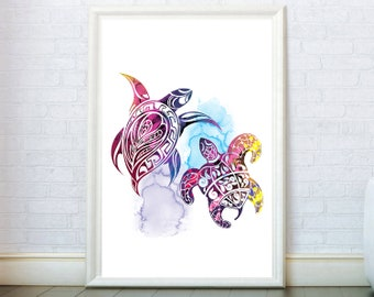 Turtle Wall Art Watercolor Sea Turtles Poster. Pair Of Turtles Print. Turtles Home Decor Turtles Art. Turtle Illustration. Two Turtles Print