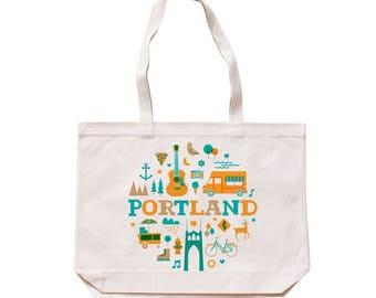 City Living Tote bag - Portland - Oregon - Market bag - Reusable bag - Canvas tote - Shopping bag - Shoulder bag - Organic