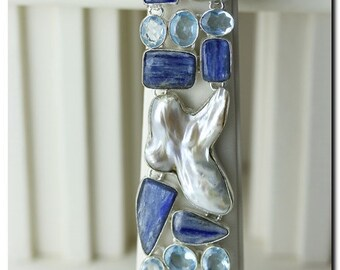 One of a Kind! Uneven Freshwater Pearl KYANITE Aquamarine 925 Solid Sterling Silver Bracelet & FREE Worldwide Shipping B1044