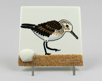 Hand-painted Sandpiper, Sandpiper Painting, Gift Beach Lover Under 50, Beachy Hostess Gift, Beach Bird Tile, Hand-painted Tile Wall Hanging