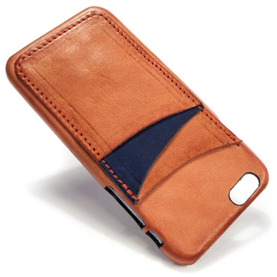 "iPhone 6S display 4.7"" Italian Leather Case with 3 credit cards holder vertical SLOTs choose the color of BODY and ACCENT"