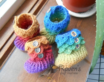Crocodile Stitch Baby Booties- MADE to ORDER-0-6 month or 6-12 month size booties