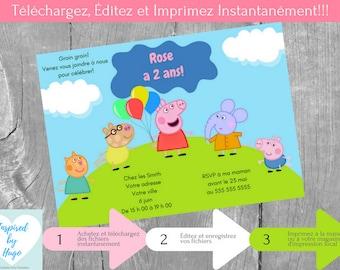 Peppa Pig Invitation fête d'anniversaire fille & Carte de Remerciement, Peppa Téléchargement Instantané, Invitation français à Personnaliser